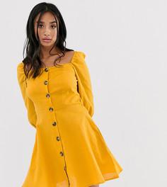 Платье мини на пуговицах с квадратным вырезом Only Petite - Оранжевый