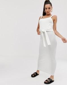 Платье макси в рубчик с поясом ASOS DESIGN - Белый