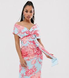 Платье-футляр миди со спущенными плечами, завязкой на талии и цветочным принтом ASOS DESIGN Petite - Мульти