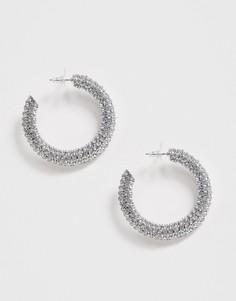 Серьги-кольца серебристого цвета с отделкой ASOS DESIGN - Серебряный