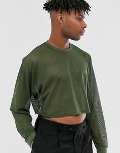 Сетчатый oversize-лонгслив цвета хаки ASOS DESIGN - Зеленый