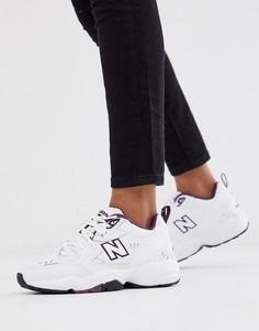 Белые кроссовки на массивной подошве с фиолетовой отделкой New Balance 608 - Белый