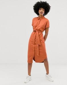Платье-рубашка миди цвета ржавчины с поясом Monki - Коричневый
