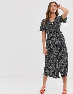 Платье миди с цветочным принтом Miss Selfridge - Черный