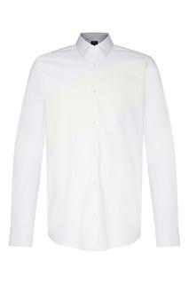 Белая рубашка прямого кроя с длинным рукавом и принтом Fendi