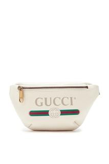 Шелковая поясная сумка на замке с логотипом «Gucci»