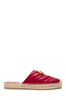 Красные кожаные сабо Gucci
