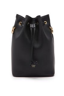 Черная кожаная сумка-мешок Fendi