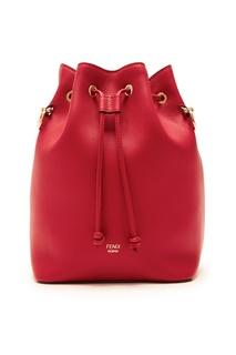 Красная кожаная сумка-мешок Fendi