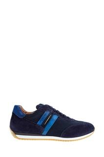 Синие кроссовки из текстиля и замши Moreschi
