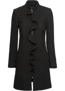 Пальто с оборками, материал с содержанием шерсти Bonprix
