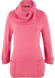Пуловер с высоким воротником и карманами Bonprix