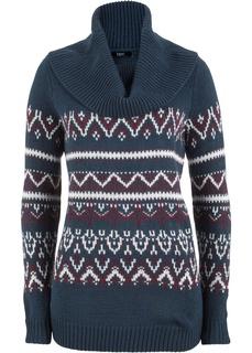 Пуловер с высоким воротником и норвежским узором Bonprix