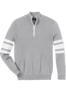 Пуловер с воротником на молнии, переработанный хлопок Bonprix