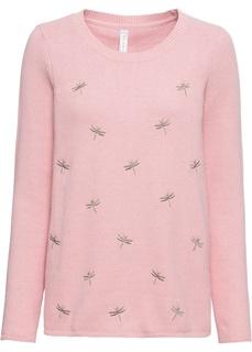 Пуловер с вышитыми стрекозами Bonprix