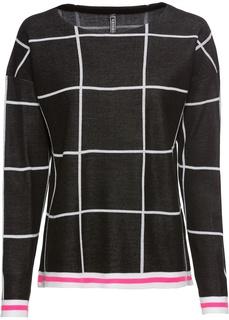 Пуловер с узором в сетку Bonprix
