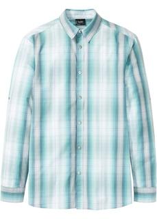 Рубашка клетчатая, длинный рукав с подворотом Bonprix