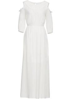 Платье с кружевом и вырезами на плечах Bonprix