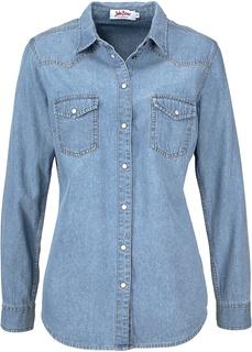 Джинсовая рубашка с длинным рукавом Bonprix