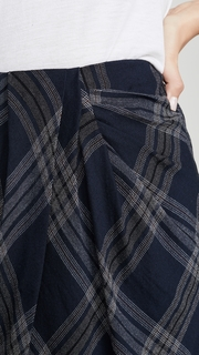 Vince Textured Plaid Drape Skirt