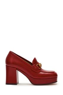 Красные кожаные туфли на платформе Horsebit Gucci