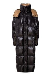 Коричнево-черное стеганое пальто Moncler