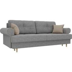 Прямой диван Лига Диванов Сплин рогожка серый подушки бежевые