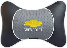 """Подушка на подголовник Auto Premium """"Chevrolet"""", цвет: серый, черный. 37545"""