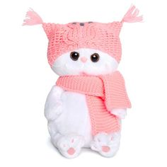 "Мягкая игрушка ""Кошечка Лили Baby в шапке-сова и шарфе"" 20 см Basik & Kо"