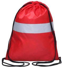 """Сумка-мешок для сменной обуви """"Антей"""", Я-104, со светоотражающей полосой, красный, 43 х 32 см"""