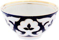 "Пиала Turon Porcelain ""Пахта"", цвет: синий, белый, золотистый, 250 мл"
