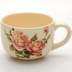 "Кружка-супница Loraine ""Розы"", цвет: бежевый, розовый, зеленый, 350 мл"