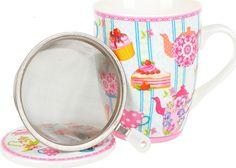 """Кружка заварочная Nouvelle De France """"Английское чаепитие"""", с фильтром, M0661049, голубой, розовый, 320 мл"""