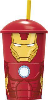 """Стакан Stor """"Мстители Железный человек"""", с соломинкой и крышкой, 53841, красный, 400 мл"""