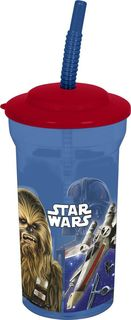 """Стакан Stor """"Звёздные войны Классика"""", с соломинкой и крышкой, 82408, синий, 460 мл"""