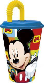 """Стакан Stor """"Микки Маус Символы"""", с соломинкой и крышкой, 22030, синий, 430 мл"""