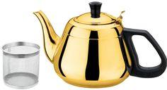 """Чайник заварочный Bekker """"Koch"""", с ситечком, цвет: золотистый, 1,3 л. BK-S503"""