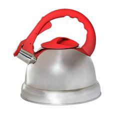 Чайник КС со свистком, 333-RY-4, серебристый, красный, 3.2 л KC