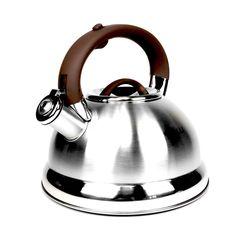 Чайник заварочный Kelli Чайник со свистком, серебристый, коричневый