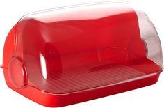 "Хлебница Plastic Centre ""Пышка"", цвет: красный, прозрачный, 41,5 х 26 х 18,5 см"