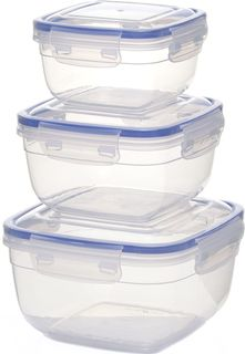 """Набор контейнеров для продуктов """"StarPlast"""", квадратные, цвет: прозрачный, 3 шт. 94062"""