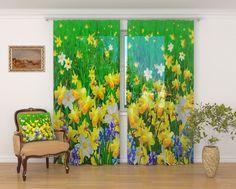 """Комплект фототюлей Сирень """"Летний цветочный пейзаж"""", на ленте, высота 260 см"""