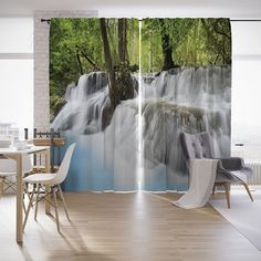 """Шторы с фотопечатью """"Дымный водопад"""" из сатена, 290х265 см Joy Arty"""