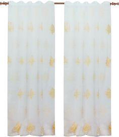 "Тюль имитация льна с вышивкой ""Вена"" 140х270 см -2шт белый желтый лента., белый, желтый"
