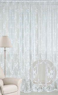 """Штора нитяная Magnolia """"Кисея"""", на ленте, цвет: белый, высота 250 см. CQ M 90008(01)"""
