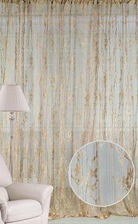 """Штора нитяная Magnolia """"Кисея"""", на ленте, цвет: золотой, высота 250 см. CQ M 90008(14)"""