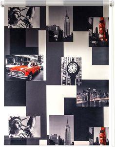 Штора рулонная Уют Нью-Йорк, красно-серый, ширина 100 см, высота 175 см
