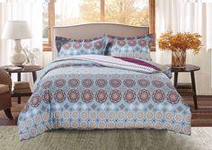 Комплект постельного белья Selena Home Textile Paisley collection by Selena, 08005106211, серый, голубой, семейный, простыня 220 x 240 см, наволочки 50 x 70 см, пододеяльник 145 x 220 см
