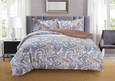 Комплект постельного белья Selena Home Textile Paisley collection by Selena, 08005104214, серый, бежевый, Евро, простыня 220 x 240 см, наволочки 50 x 70 см, пододеяльник 215 x 220 см