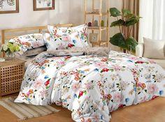 """Комплект постельного белья Limetime Sateen Comfort """"Цветочная долина"""", простыня 220 х 240 см, пододеяльник 175 х 215 см, наволочка 70 х 70 см, LT3020-71, мультиколор"""